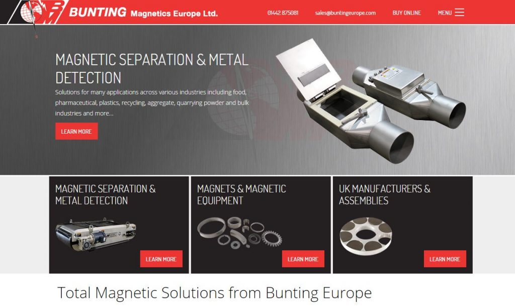 New Website, Bunting Magnetics Europe Ltd