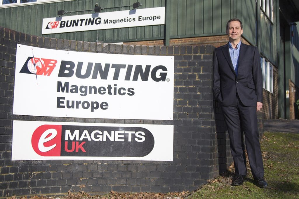 Simon Ayling outside Bunting Magnetics Berkhamsted