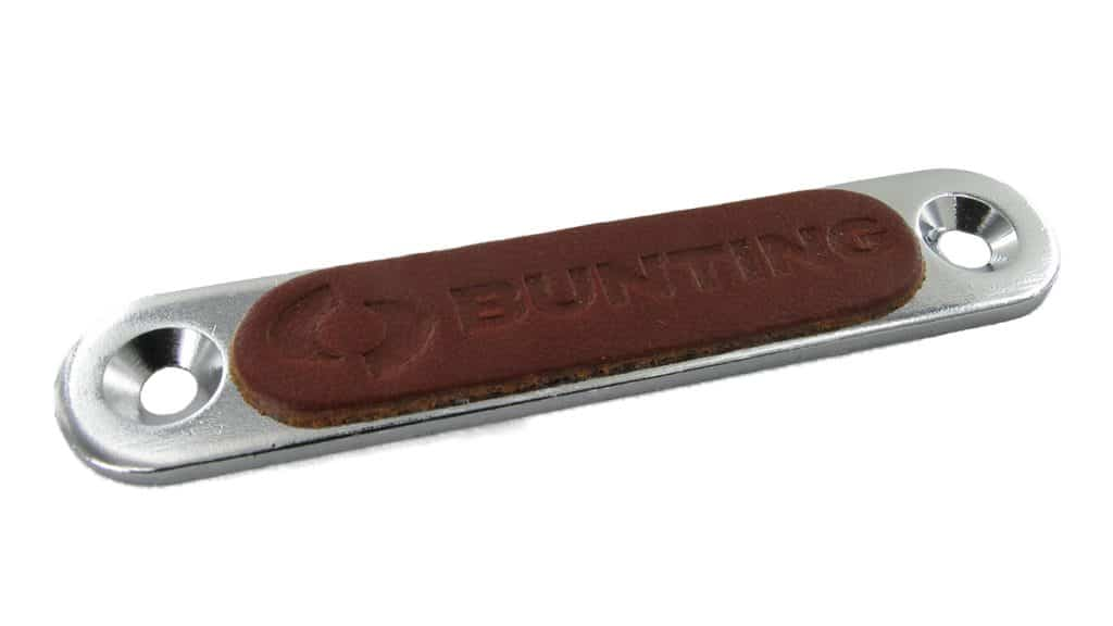 Logo embossed leather counterplate